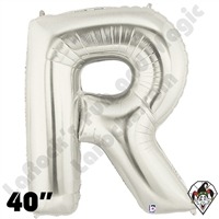 Betallic 40 Inch Letter R Silver Foil Megaloon Balloon 1ct