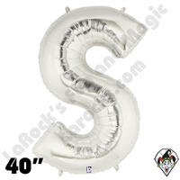 Betallic 40 Inch Letter S Silver Foil Megaloon Balloon 1ct