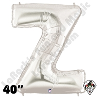 Betallatex 40 Inch Letter Z Silver Foil Megaloon Balloon 1ct