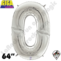 64 Inch Number Zero Silver Gigaloon Foil Balloon Betallic 1ct