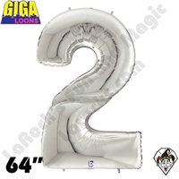 64 Inch Number 2 Silver Gigaloon Foil Balloon Betallic 1ct