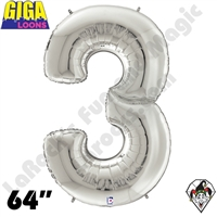 64 Inch Number 3 Silver Gigaloon Foil Balloon Betallic 1ct