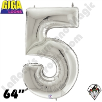64 Inch Number 5 Silver Gigaloon Foil Balloon Betallic 1ct