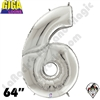 64 Inch Number 6 Silver Gigaloon Foil Balloon Betallatex 1ct