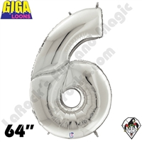 64 Inch Number 6 Silver Gigaloon Foil Balloon Betallic 1ct