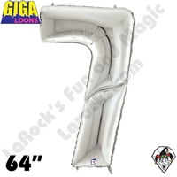 64 Inch Number 7 Silver Gigaloon Foil Balloon Betallic 1ct