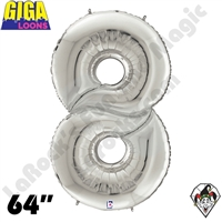 64 Inch Number 8 Silver Gigaloon Foil Balloon Betallic 1ct