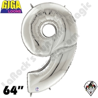 64 Inch Number 9 Silver Gigaloon Foil Balloon Betallatex 1ct
