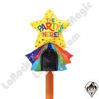 33 Inch Shape Mailbox The Party's Here! Non-Foil Balloon Betallatex 1ct