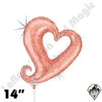 14 Inch Shape Chain Of Hearts Rose Gold Foil Balloon Betallatex 1ct