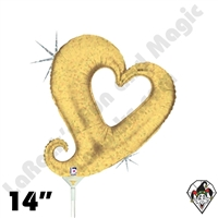 14 Inch Shape Chain Of Hearts Gold Foil Balloon Betallic 1ct