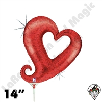 14 Inch Shape Chain Of Hearts Red Foil Balloon Betallic 1ct