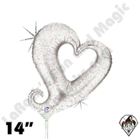 14 Inch Shape Chain Of Hearts Silver Foil Balloon Betallic 1ct