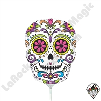 14 Inch Shape Sugar Skull Foil Balloon Betallic 1ct