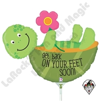14 Inch Shape Back On Your Feet Turtle Foil Balloon Betallic 1ct