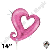 14 Inch Shape Chain Of Hearts Pink Foil Balloon Betallic 1ct