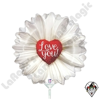 14 Inch Shape Daisy Heart Foil Balloon Betallic 1ct