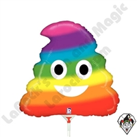 14 Inch Shape Emoji Rainbow Poo Foil Balloon Betallatex 1ct