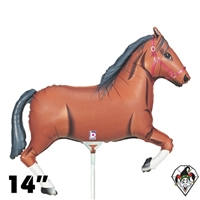 14 Inch Shape Brown Horse Foil Balloon Betallic 1ct