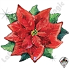 34 Inch Shape Watercolor Poinsettia Foil Balloon Betallic 1ct