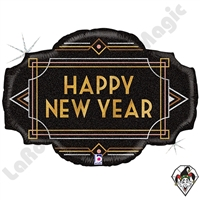 32 Inch Shape Art Deco New Year Foil Balloon Betallic 1ct