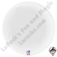15 Inch Dimensional White Globe Foil Balloon Betallic 1ct