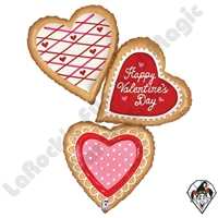 44 Inch Shape Valentine Cookies Foil Balloon Betallic 1ct