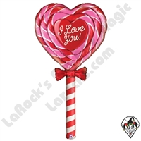 60 Inch Shape Mighty Bright Special Delivery Love Lollipop Non-Foil Balloon Betallic 1ct