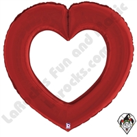 41 Inch Shape Linking Hearts Satin Red Foil Balloon Betallic 1ct