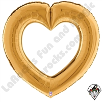 41 Inch Shape Linking Hearts Gold Foil Balloon Betallic 1ct
