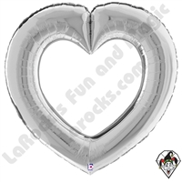 41 Inch Shape Linking Hearts Silver Foil Balloon Betallic 1ct