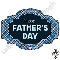 Betallic 32 Inch Shape Father's Day Plaid Foil Balloon 1ct