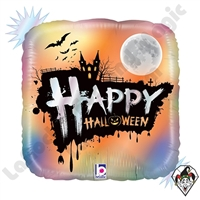 18 Inch Square Opal Happy Halloween Foil Balloon Betallic 1ct