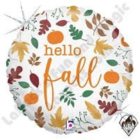 18 Inch Round Hello Fall Foil Balloon Betallic 1ct