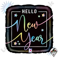 18 Inch Square Opal Hello New Year Foil Balloon Betallic 1ct