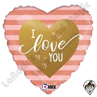 18 Inch Heart Rose Gold Stripes I Love You Foil Balloon Betallic 1ct