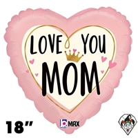 Betallic 18 Inch Heart Love You Mom Crown Foil Balloon 1ct