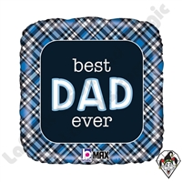 Betallic 18 Inch Square Best Dad Ever Plaid Foil Balloon 1ct