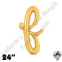 24 Inch Script Letter F Gold Foil Balloon Betallic 1ct