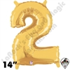 Betallatex 14 Inch Number 2 Gold Foil Megaloon Balloon 1ct
