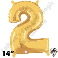 Betallic 14 Inch Number 2 Gold Foil Megaloon Balloon 1ct
