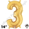 Betallatex 14 Inch Number 3 Gold Foil Megaloon Balloon 1ct