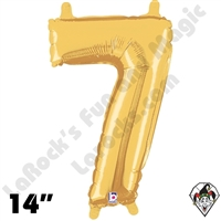 Betallic 14 Inch Number 7 Gold Foil Megaloon Balloon 1ct