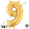 Betallatex 14 Inch Number 9 Gold Foil Megaloon Balloon 1ct