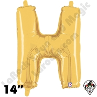 Betallatex 14 Inch Letter H Gold Foil Megaloon Balloon 1ct