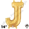 Betallatex 14 Inch Letter J Gold Foil Megaloon Balloon 1ct
