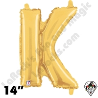 Betallatex 14 Inch Letter K Gold Foil Megaloon Balloon 1ct