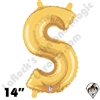 Betallatex 14 Inch Letter S Gold Foil Megaloon Balloon 1ct