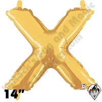 Betallatex 14 Inch Letter X Gold Foil Megaloon Balloon 1ct