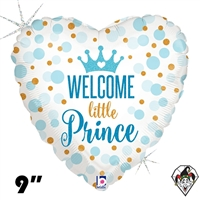 09 Inch Heart Glitter Baby Prince Foil Balloon Betallatex 1ct